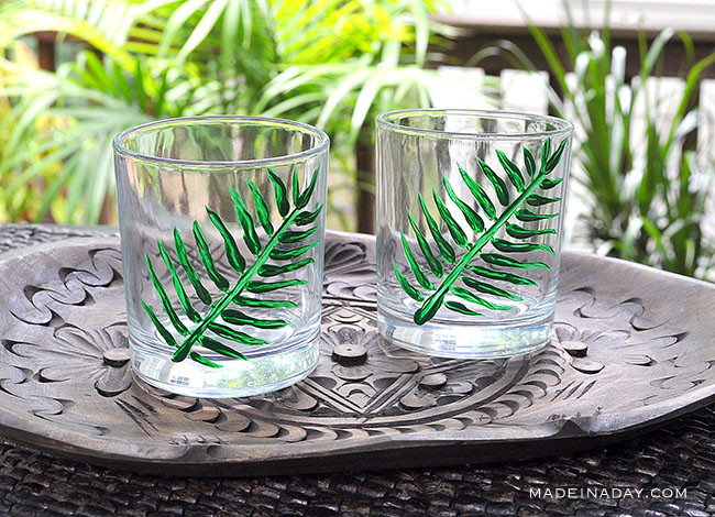 Hand Painted Tropical Palm Cocktail Glasses, diy painted glasses