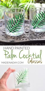 Hand Painted Tropical Palm Cocktail Glasses 1