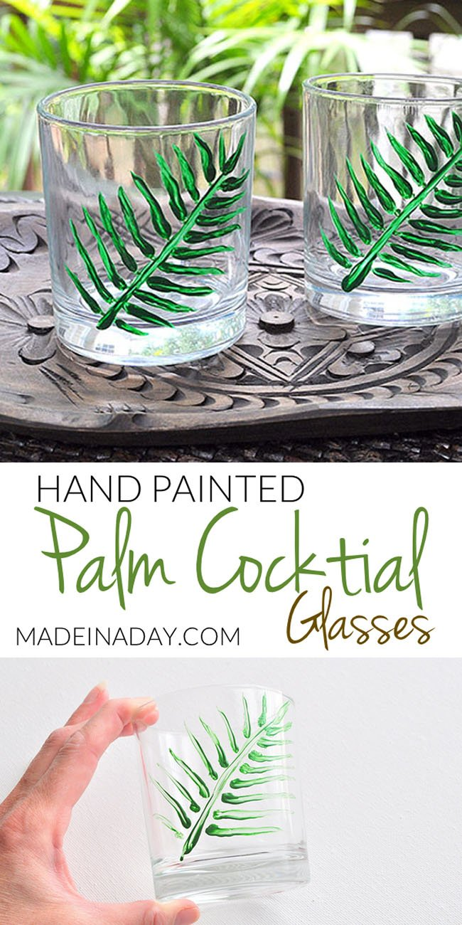 Hand Painted Palm Leaf Cocktail Glasses,Thrift store old fashioned cocktail whiskey glasses painted with glass paint for a Tropical Palm makeover! Palm Tree glasses, painted palm leaf, palm frond, tropical cocktail glasses, hand painted palm
