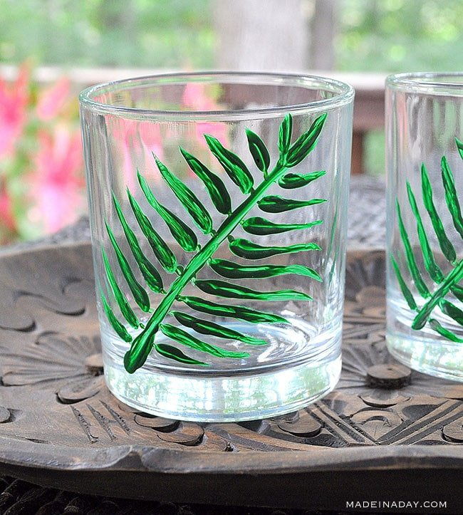 Painted Palm cocktail glasses ,hand painted tropical high ball glasses