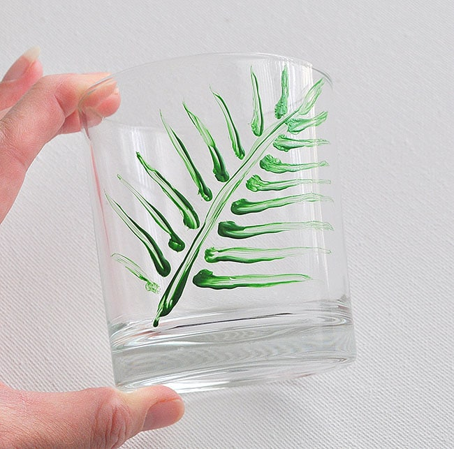 how to paint a palm on glasses, how to paint glasses