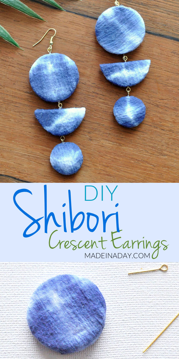 Shibori Crescent Earrings, tie dye, lightweight earrings made of foam and covered with shibori fabric, dangle earrings, diy drop earrings, indigo