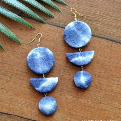 Shibori Crescent Earrings