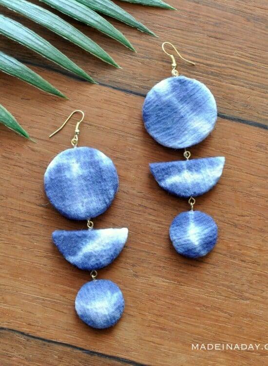 Shibori Crescent Earrings 36
