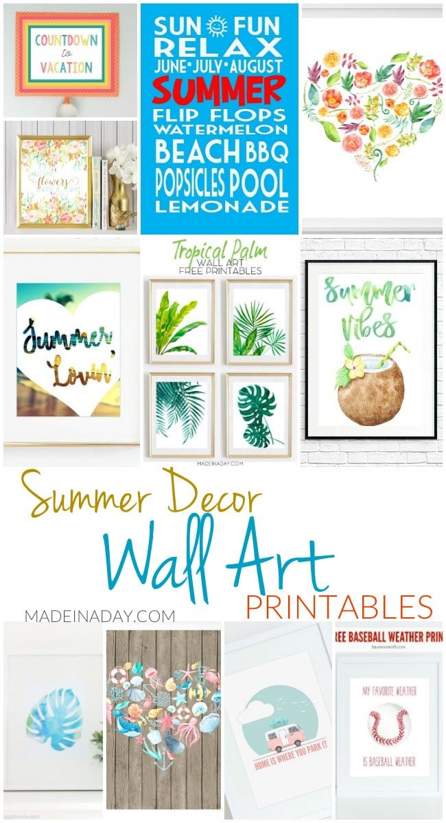 Summer Decor Wall Art Printables, tropical printables, nautical, palm leaf printables, coconut, baseball, camper, subway art, florals, floral hearts, free printables.
