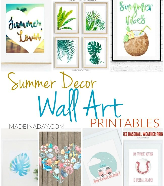 Summer Decor Wall Art Printables Made In A Day