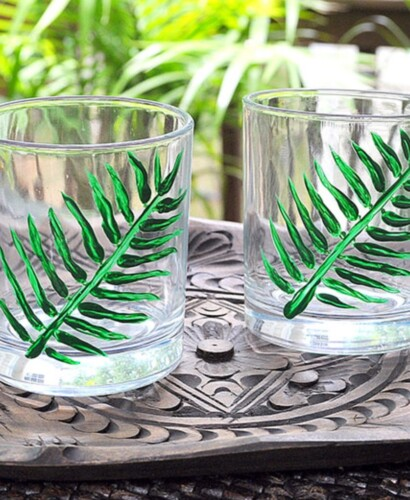 Hand Painted Tropical Palm Cocktail Glasses 41