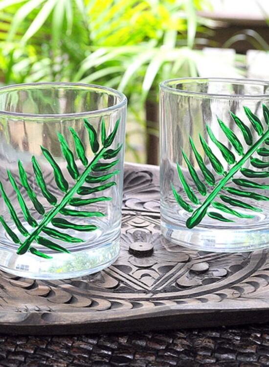 Hand Painted Tropical Palm Cocktail Glasses 33