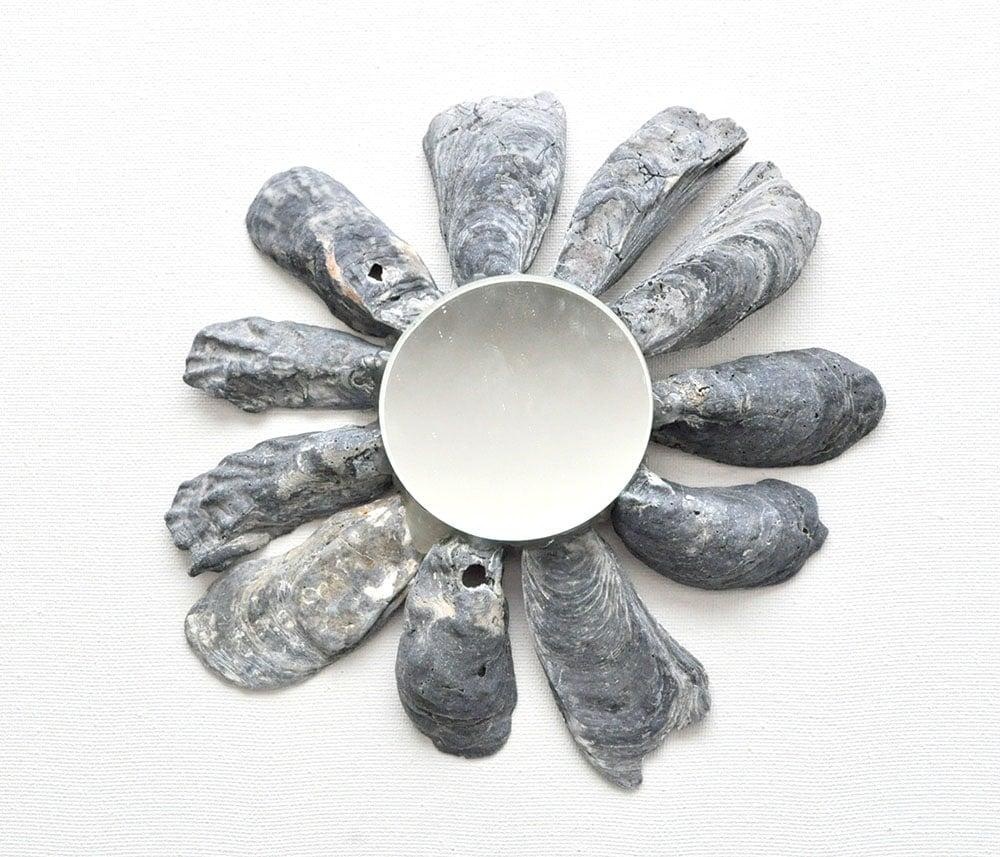 coastal shell mirror, black oyster shell mirror tutorial