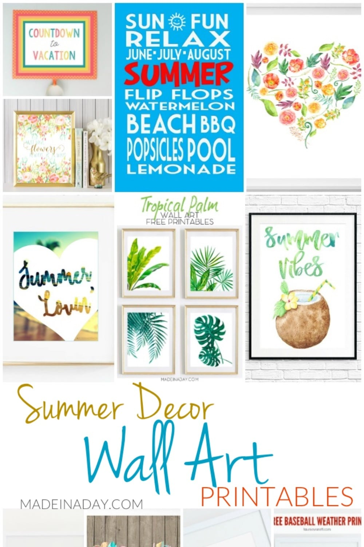 11 Summer Decor Wall Art Printables