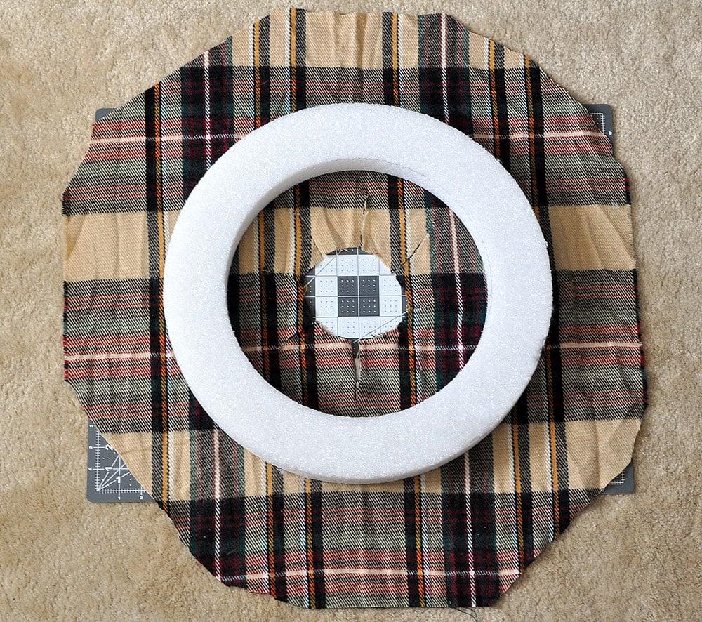 cut fabric for scarf wreath