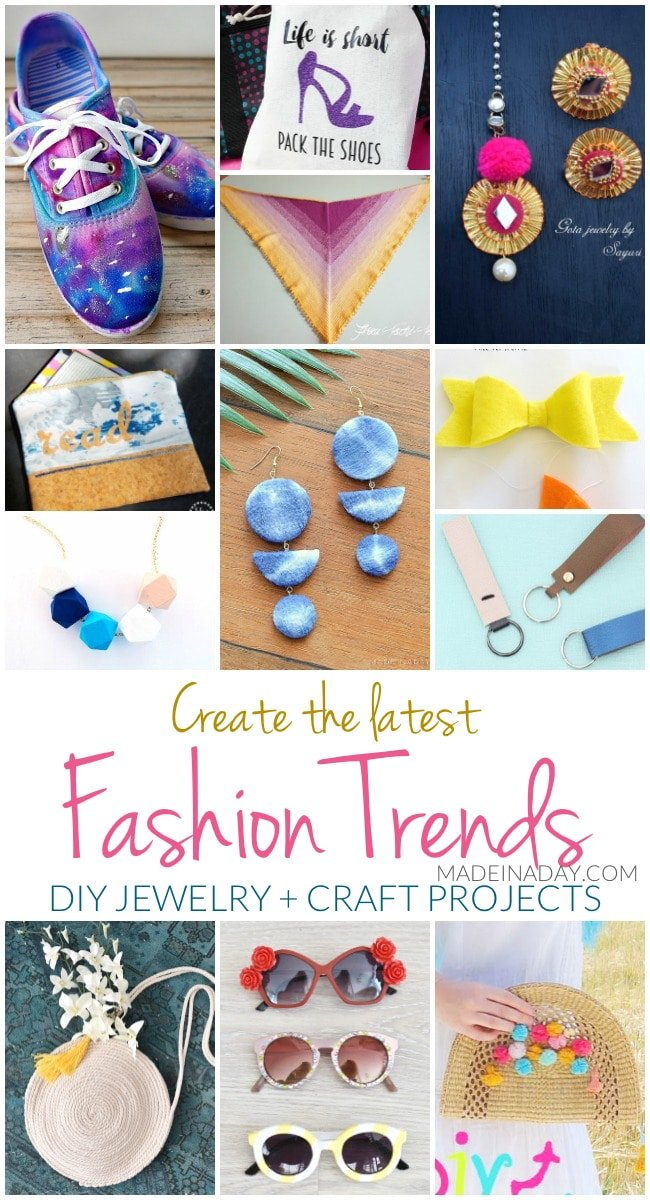 Create the Latest Fashion Trends DIY Jewelry + Craft Projects, galaxy shoes, crochet scarf, key fob, geometric necklace, pom pom straw purse, rope purse, Shibori earrings, DIY Dolce Gabbana Sunglasses #DIY #Jewelry #DIYjewelry #DIYfashion #Paintedshoes #keyfob #pompom
