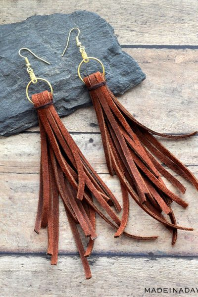 Long Dangle Suede Fringe Earrings
