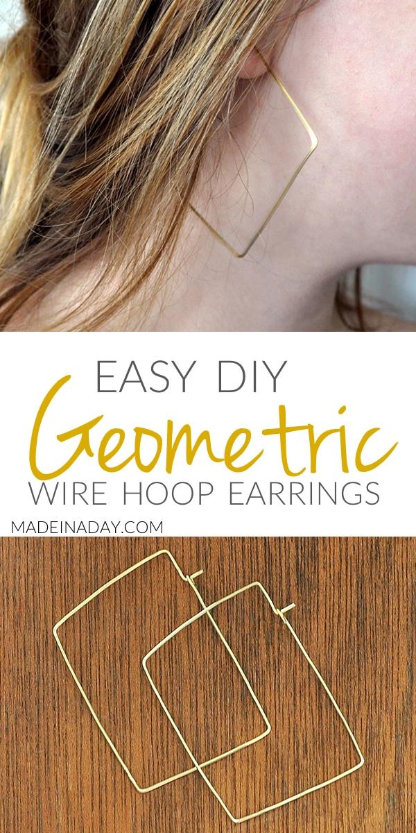 DIY Geometric Hoop Earrings, Make these simple gold hoops with beading wire & pliers! wire earrings, Geo hoop earring,