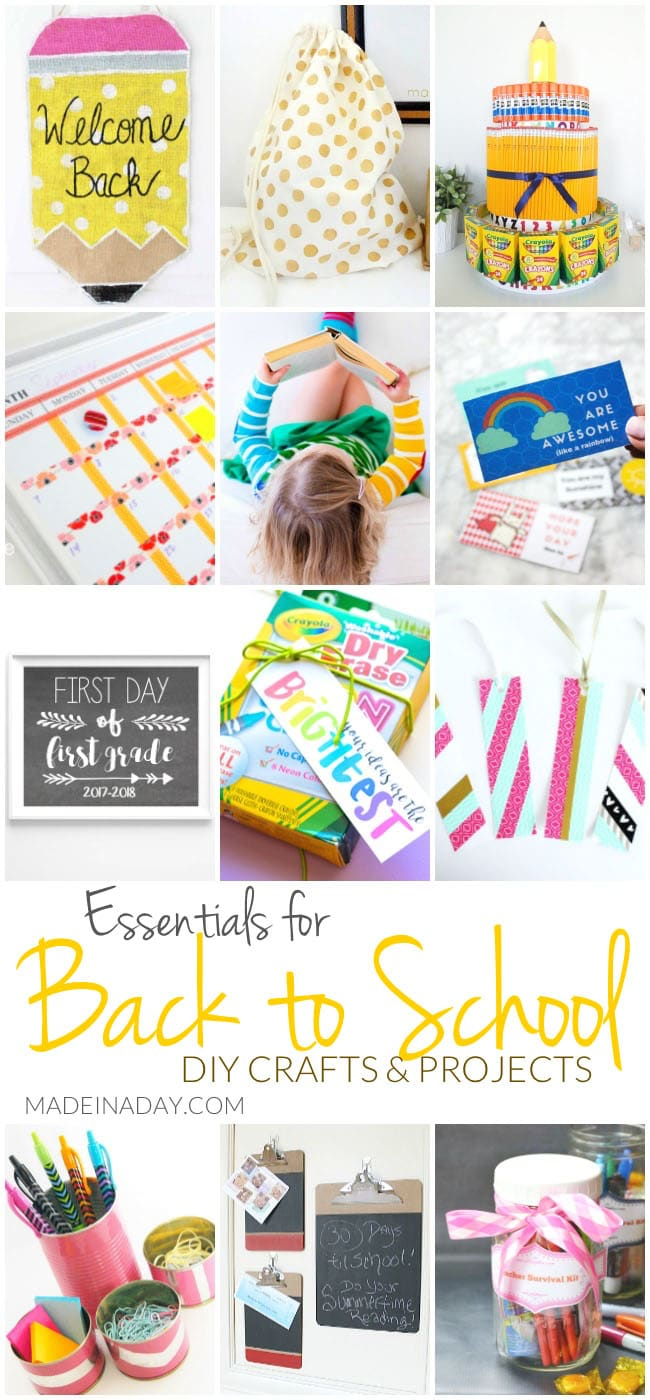 Essentials for Back to School DIY Crafts & Projects,Top DIY's to get ready for the first day of school! Gym bag stencil craft, fist day chalkboard sign, essential oils, washi tape crafts, school supply cake, organization, teachers gift