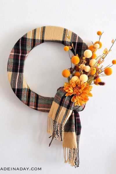 Fall Plaid Scarf Wreath