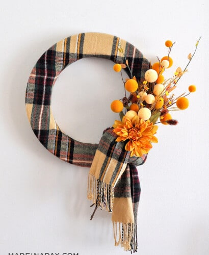 Stunning Cozy Fall Plaid Scarf Wreath 31