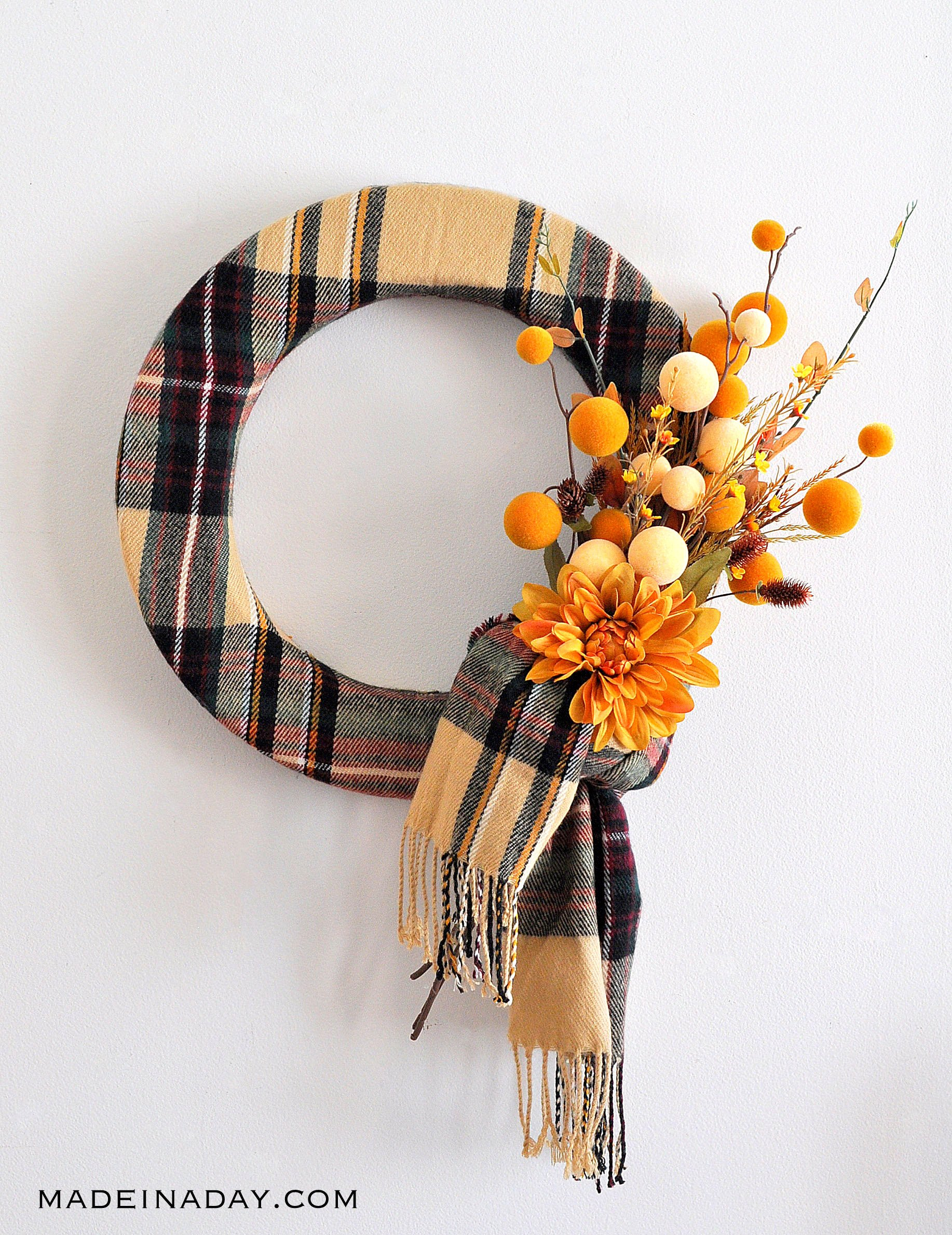 Fall Plaid Scarf Wreath, easy wreath made from a scarf