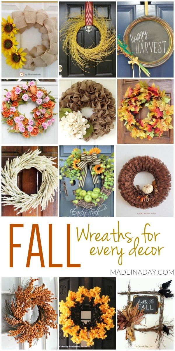 12 fall wreaths, DIY fall Wreaths