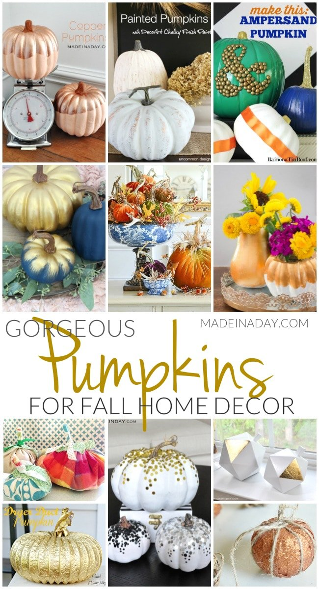 Gorgeous #Pumpkin Crafts for #Fall Home Decor, gold pumpkins, confetti pumpkins, painted pumpkins, dryer duct pumpkins, velvet pumpkins, copper pumpkins, glam, gilded pumpkins, garlands