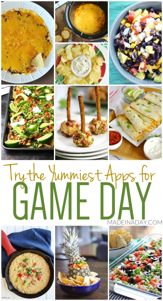 The Yummiest Appetizers for Game Day, Southwestern cheese dip, sheet pan nachos, taquitos, crab dip, mango salsa in a pineapple, queso and more! #gameday #footballparty #party #appetizers #queso #salsa #dip #nachos #food #fingerfood