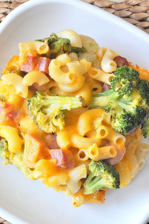 Broccoli Ham Macaroni and Cheese Casserole