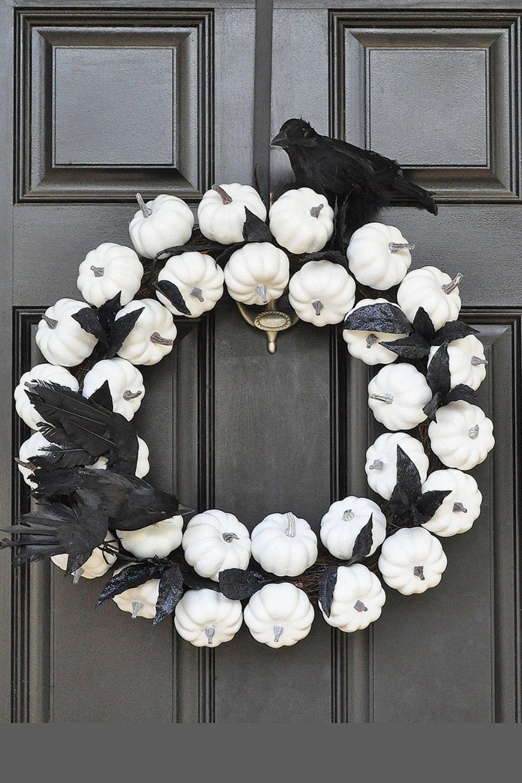White Pumpkin Wreath for Fall to Halloween