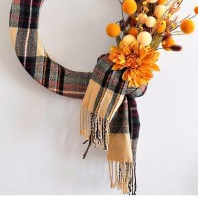 Stunning Cozy Fall Plaid Scarf Wreath 31