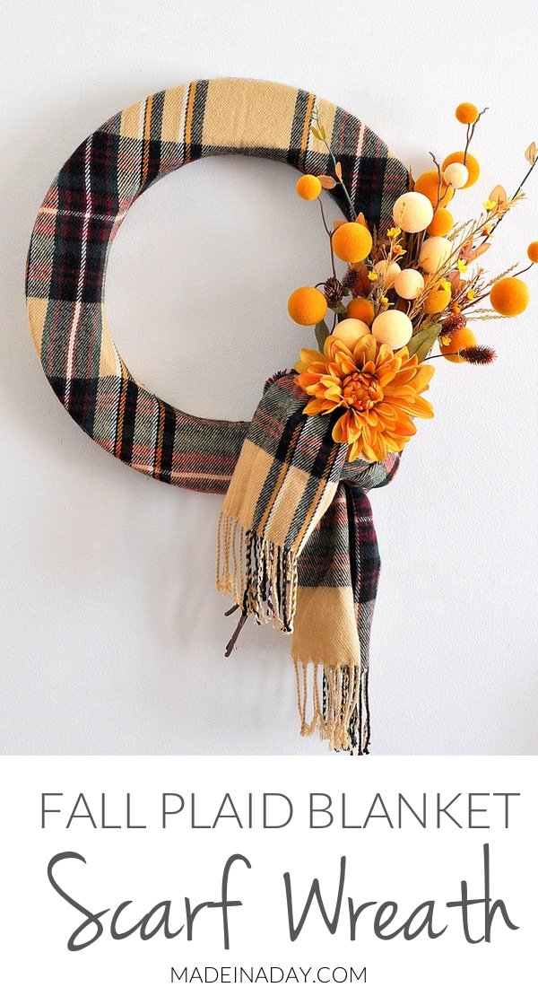 Fall Plaid Scarf Wreath, Make a fun wreath for fall using a blanket #scarf & fun felt pom stems! blanket scarf, #plaid scarf, felt pom stems, ball stems, plaid #wreath, scarf fringe wreath,