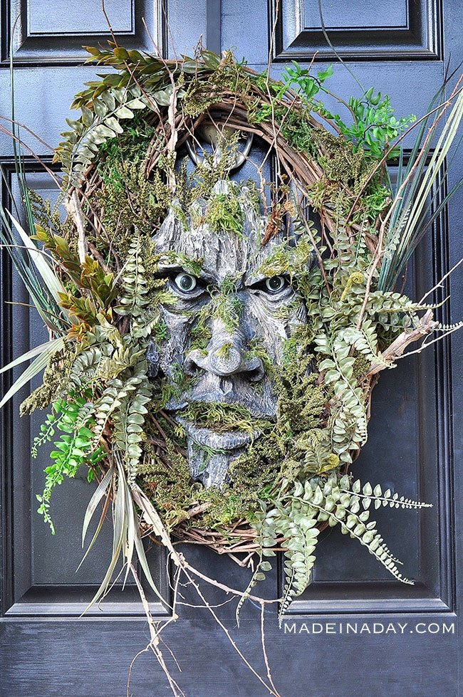 Make this simple but scary tree man to scare your neighbors this Halloween! Green Man,Tree Man, Woodland Tree Spirit, Forest Man, tree creature,