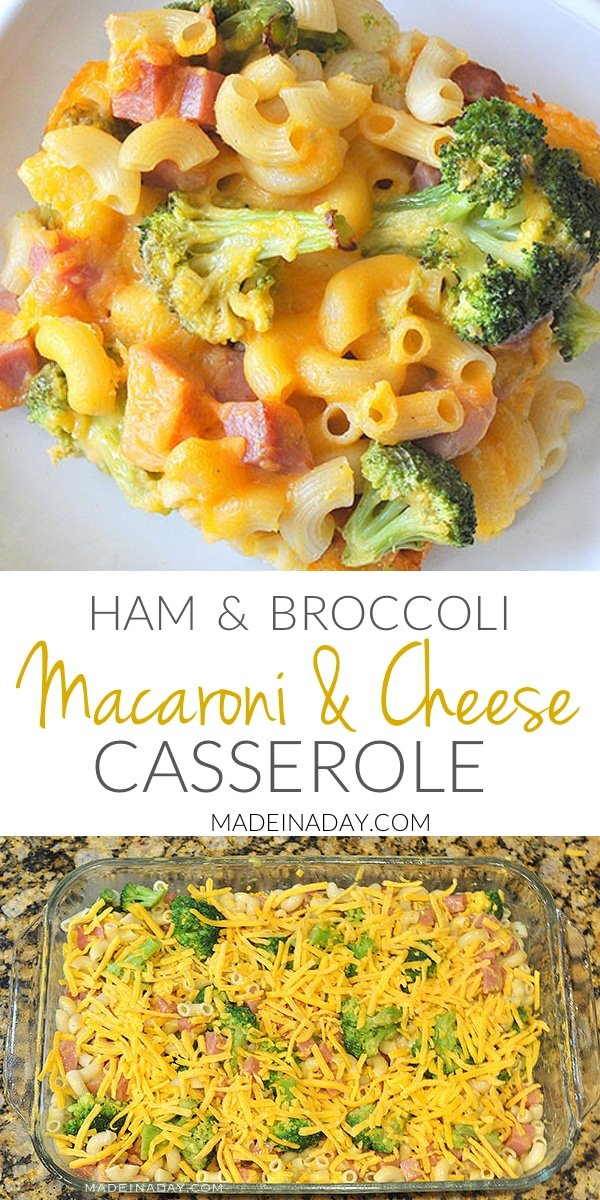 Broccoli Ham Macaroni and Cheese #Casserole, Easy weeknight meal made with deluxe macaroni mix, ham & broccoli. #ham broccoli #mac&cheese, Mac & cheese casserole, ham, and macaroni,