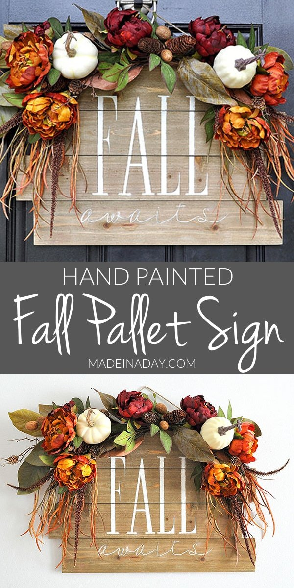 #Fall Awaits Hand Painted Pallet, Grab all the supplies @HobbyLobby to create this beauty. #sponsored #ad #Palletsign paint a #pallet fall sign, how to hand-paint a pallet sign, fall door hanger, hand-painted sign, fall wreath, hello fall #hellofall #handpainted #fall #falldecor #wallart #entrydecor #falldoorhanger #fallwreath #wreath #