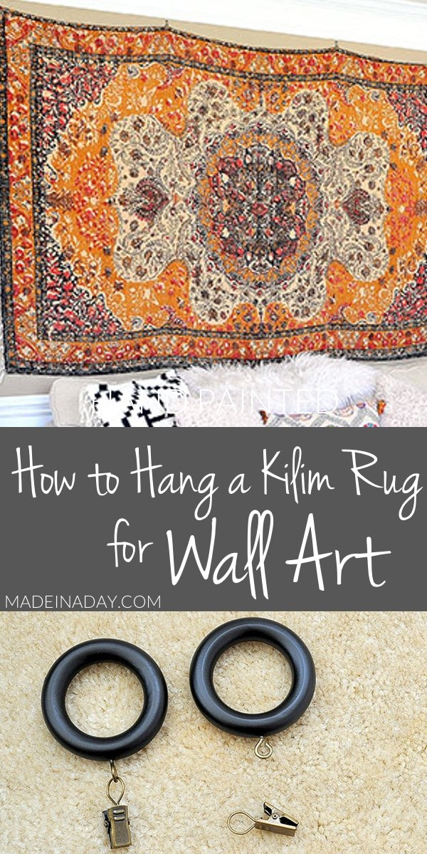 Rug Wall Art: How to Hang a Rug Like a TapestryStop listening, Easy way to hang a rug using drapery clips! how to hang a rug, hang a rug like a tapestry, rug wall art, hang a kilim rug for wall art