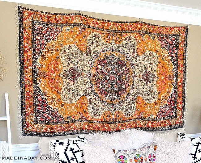 How to hang a rug on the wall with clips