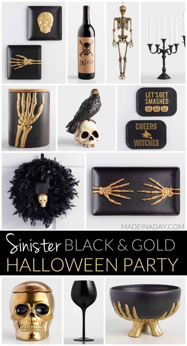 Treacherous Sinister Black and Gold Halloween Party