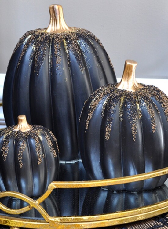 Enchanted Gold and Black Beaded Pumpkins 8