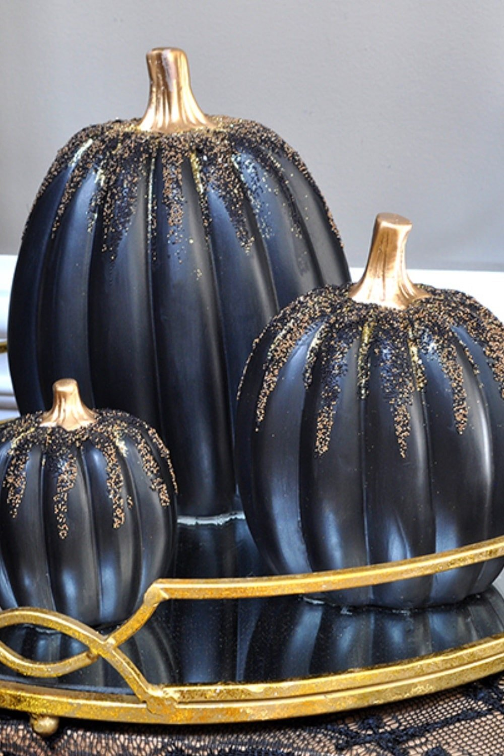 Enchanted Gold and Black Beaded Pumpkins