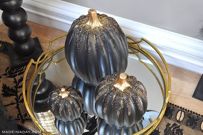 Black gold Beaded Halloween Pumpkins