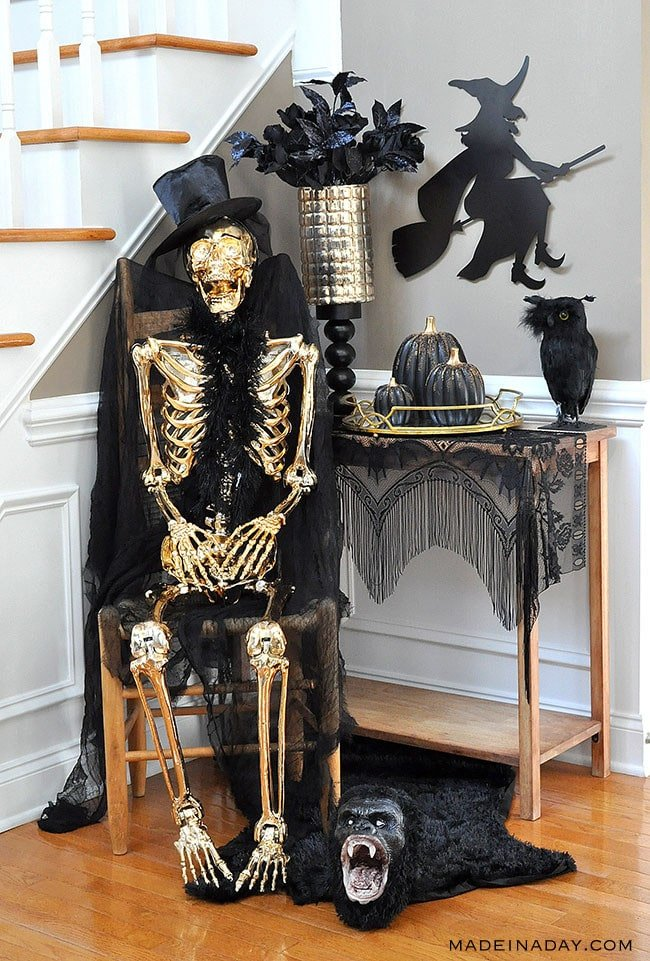 Black Gold Halloween Entryway