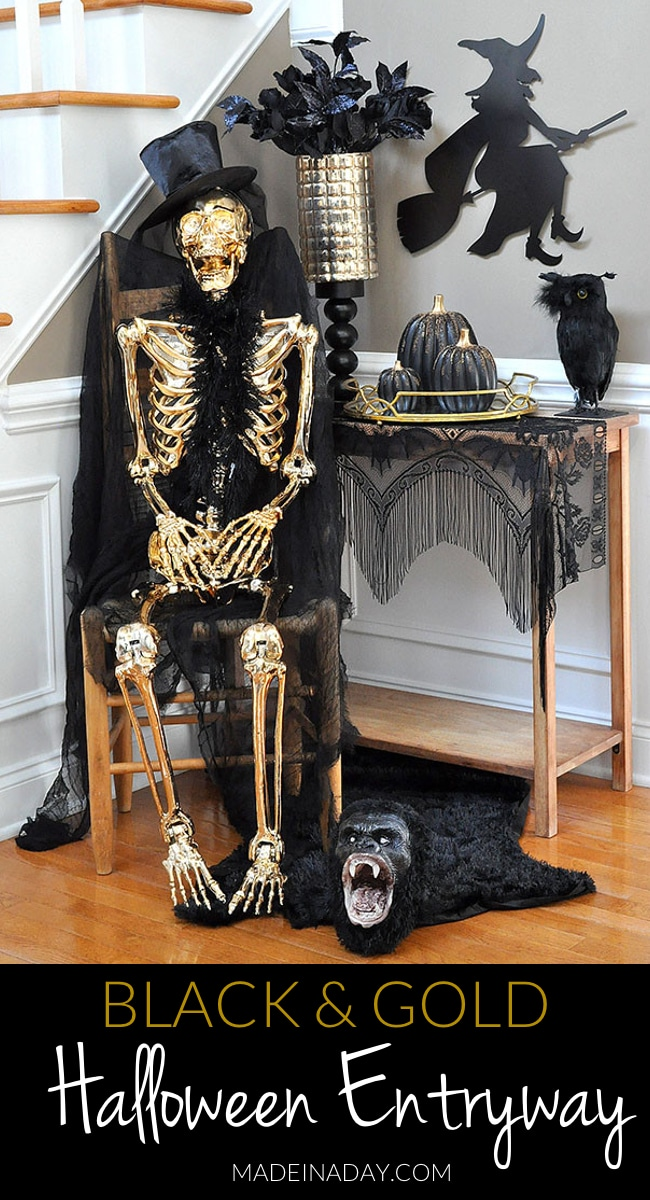 Black and gold Halloween Entryway