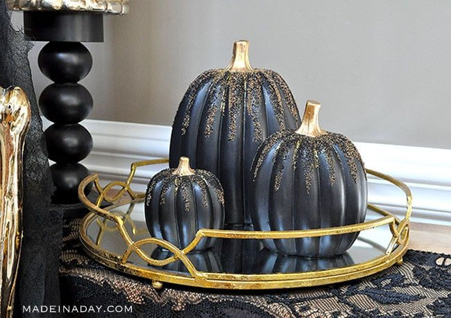 DIY Black and Gold Beaded Pumpkins