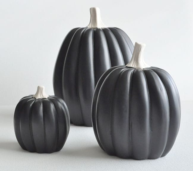 black painted pumpkins