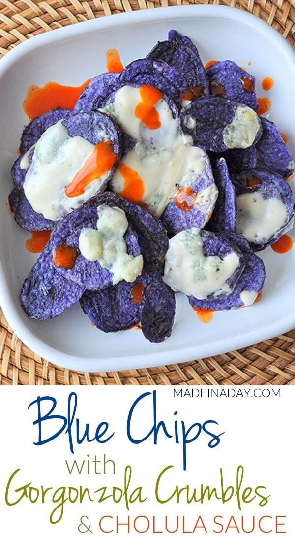 Crispy Blue #Potato Chips & Spicy #Gorgonzola Cheese Sauce #Appetizer, Blue Terra Chips, Gorgonzola Crumbles, #Alfredo sauce, nachos, Cholula Hot Sauce,