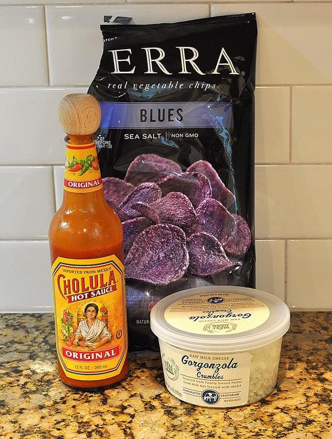 bleu terra chips, Cholula Sauce, gorgonzola crumbles