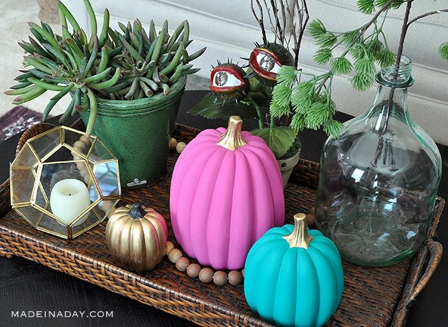 bright painted pumpkins for fall decor, ideas for painting ceramic pumpkins,