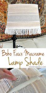 Boho Fringe Faux Macrame Lamp Shade Makeover 1
