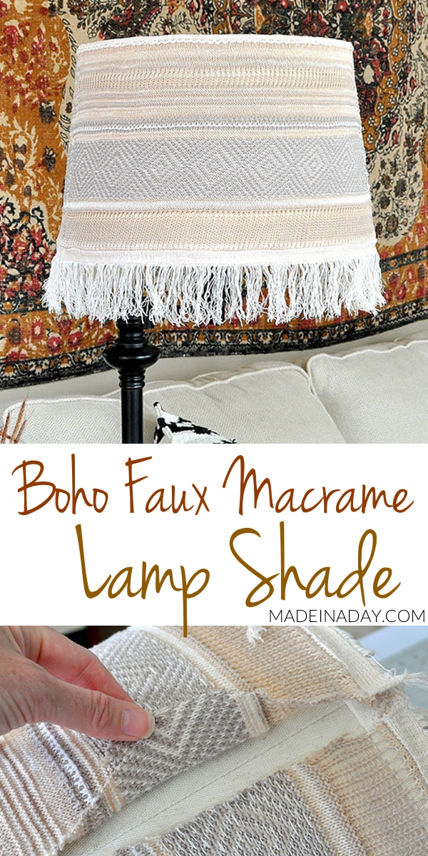 Boho Fringe Faux Macrame Lamp Shade Makeover, boho wrap, macrame lamp shade, fringe lamp shade, bohemian lamp shade, make a boho lamp shade from a sweater wrap,