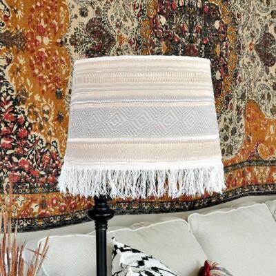 Boho Fringe Faux Macrame Lamp Shade Makeover