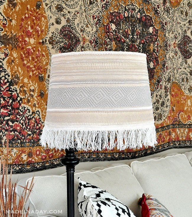 Easy DIY Boho Fringe Faux Macrame Lamp Shade Makeover Lampshade