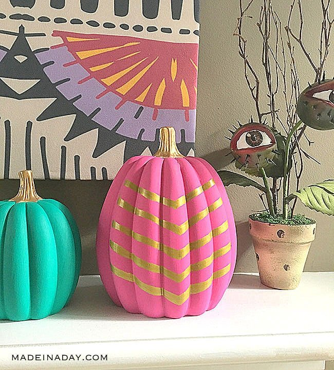 Tribal Pink Gold Painted Pumpkin